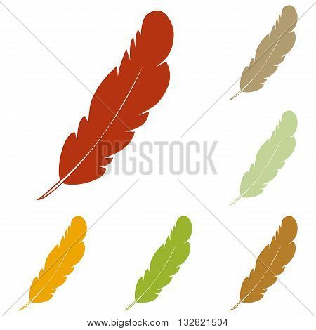 Feather sign illustration. Colorful autumn set of icons.