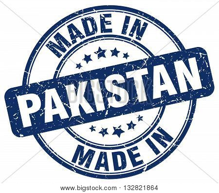made in Pakistan blue round vintage stamp.Pakistan stamp.Pakistan seal.Pakistan tag.Pakistan.Pakistan sign.Pakistan.Pakistan label.stamp.made.in.made in.