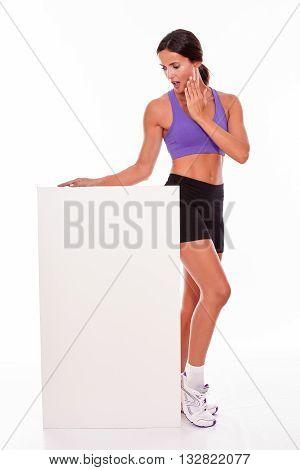 Healthy Surprised Brunette Holding Blank Placard
