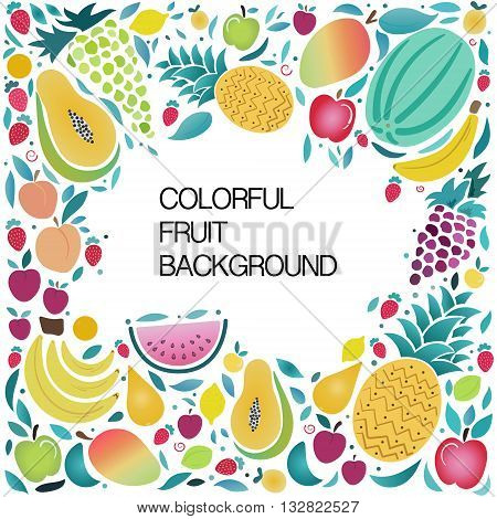 Vector collection of fresh healthy fruits with space for text. Eco food menu background in vector illustration. Healthy lifestyle or diet design element.