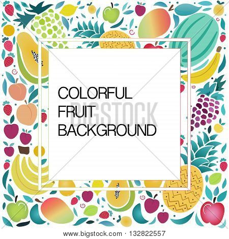 Organic fruits template in vector illustration. Healthy lifestyle or diet design element. Fruit vector illustration with space for text.Vector colorful background with fruits and berries.