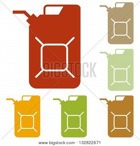 Jerrycan oil sign. Jerry can oil sign. Colorful autumn set of icons.