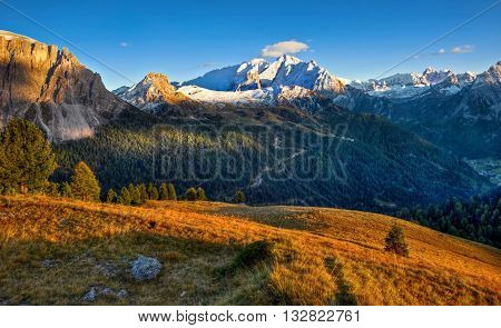 View to massif Marmolada from Passo Sella