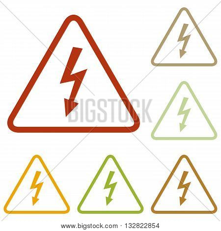 High voltage danger sign. Colorful autumn set of icons.