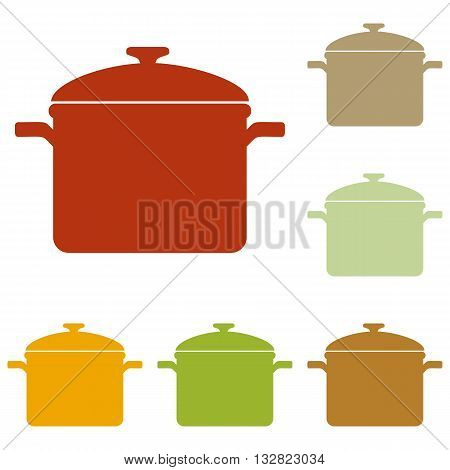 Cooking pan sign. Colorful autumn set of icons.