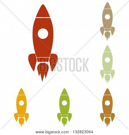 Rocket sign illustration. Colorful autumn set of icons.