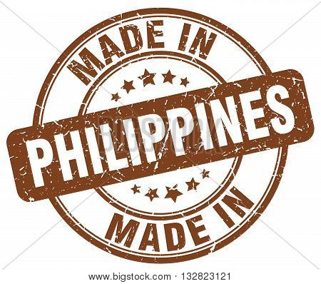 made in Philippines brown round vintage stamp.Philippines stamp.Philippines seal.Philippines tag.Philippines.Philippines sign.Philippines.Philippines label.stamp.made.in.made in.