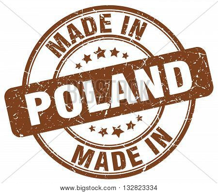 made in Poland brown round vintage stamp.Poland stamp.Poland seal.Poland tag.Poland.Poland sign.Poland.Poland label.stamp.made.in.made in.