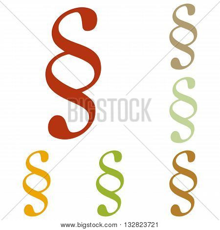 Paragraph sign illustration. Colorful autumn set of icons.