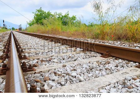 Train tracks in perspective. Transportation outdoor. Industrial