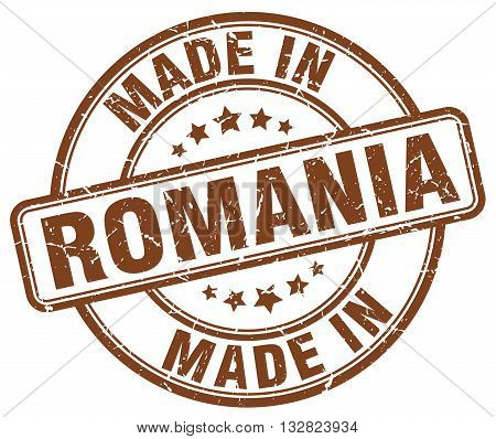 made in Romania brown round vintage stamp.Romania stamp.Romania seal.Romania tag.Romania.Romania sign.Romania.Romania label.stamp.made.in.made in.
