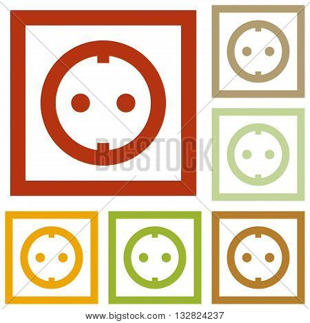 Electrical socket sign. Colorful autumn set of icons.