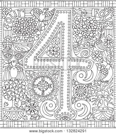 Adult Coloring Book Poster Number 4 Four Black and White Vector Illustration Alphabet Letter Wall Art