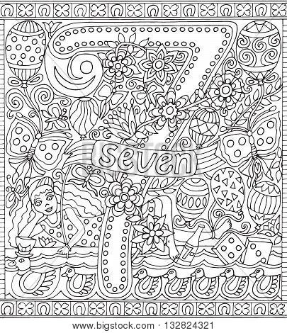 Adult Coloring Book Poster Number 7 Seven Black and White Vector Illustration Alphabet Letter Wall Art