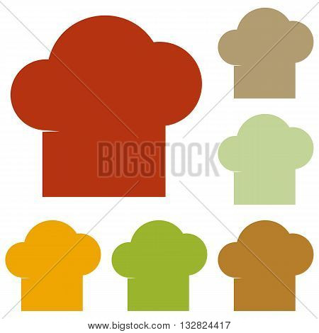 Chef cap sign. Colorful autumn set of icons.