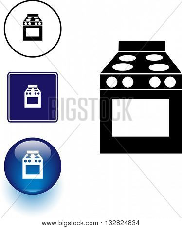 stove symbol sign and button