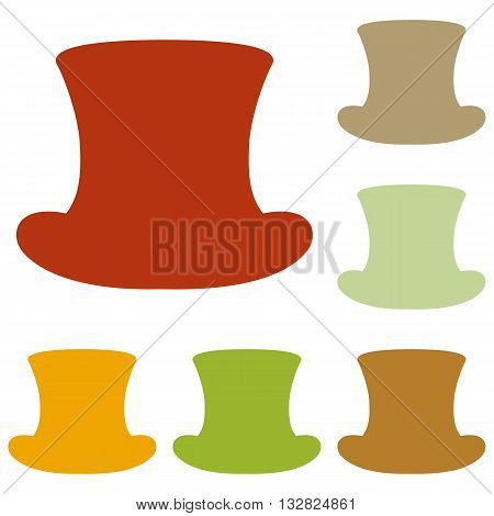 Top hat sign. Colorful autumn set of icons.