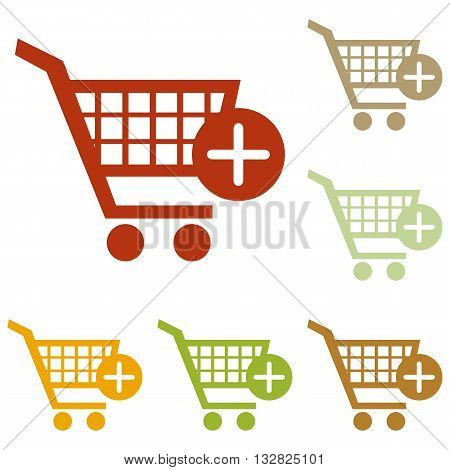 Shopping Cart with add Mark sign. Colorful autumn set of icons.