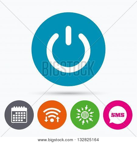 Wifi, Sms and calendar icons. Power sign icon. Switch on symbol. Turn on energy. Go to web globe.
