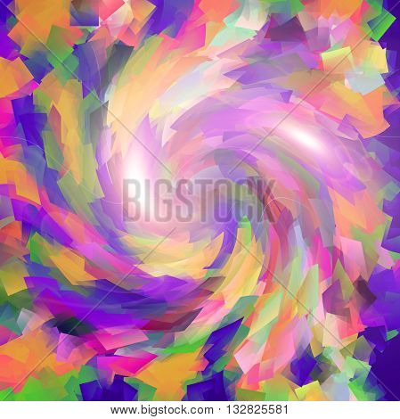Abstract coloring gradients background with visual cubism,lens flare and twirl effects