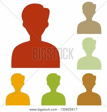 User avatar illustration. Anonymous sign. Colorful autumn set of icons.