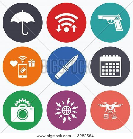 Wifi, mobile payments and drones icons. Gun weapon icon.Knife, umbrella and photo camera with flash signs. Edged hunting equipment. Prohibition objects. Calendar symbol.