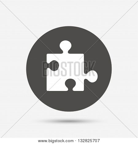 Puzzle piece sign icon. Strategy symbol. Gray circle button with icon. Vector