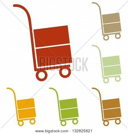 Hand truck sign. Colorful autumn set of icons.