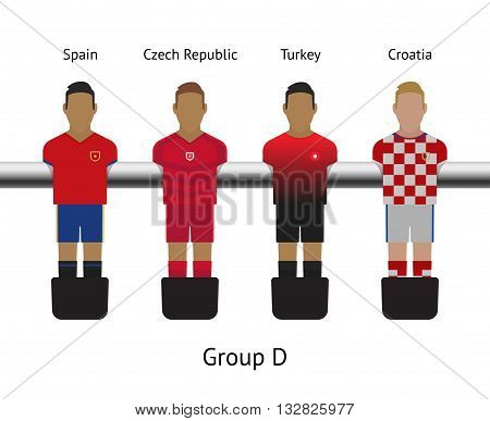 Table football game, Soccer table with players Football players kit. Soccer teams. Spain, Czech Republic, Turkey, Croatia