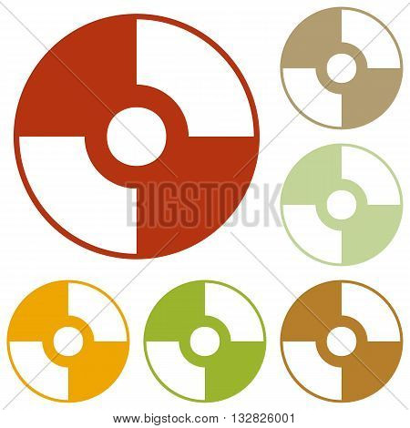 Vector CD or DVD sign. Colorful autumn set of icons.
