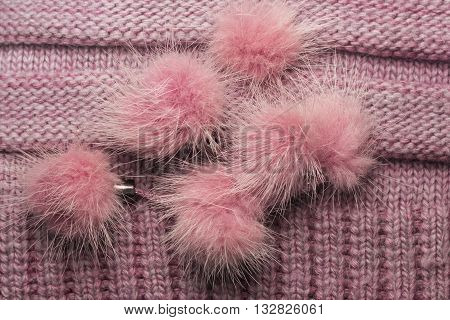 Ribbed Knit Wool Like Texture With Fur Pompoms, Textured Knitted Fabric Knitted,