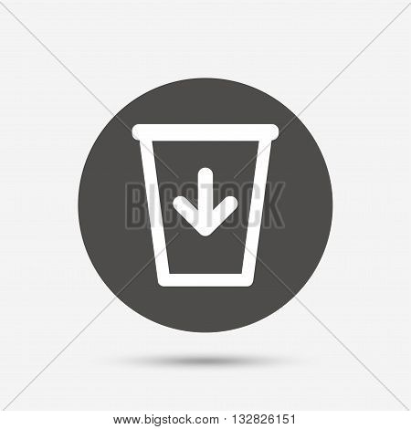 Send to the trash icon. Recycle bin sign. Gray circle button with icon. Vector