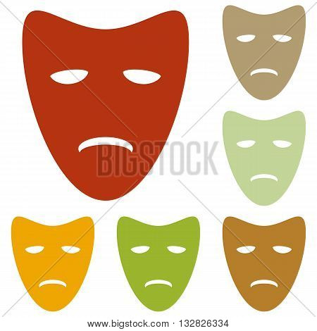 Tragedy theatrical masks. Colorful autumn set of icons.