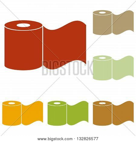Toilet Paper sign. Colorful autumn set of icons.