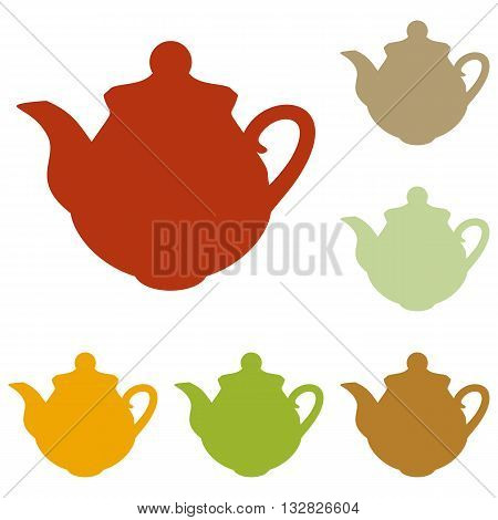 Tea maker Kitchen sign. Colorful autumn set of icons.