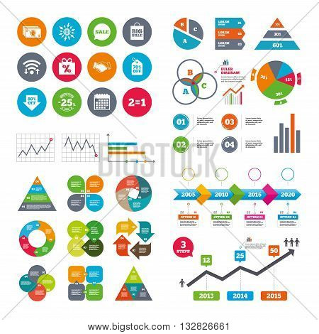 Wifi, calendar and web icons. Sale discounts icon. Shopping, handshake and cash money signs. 25, 70 and 80 percent off. Special offer symbols. Diagram charts design.