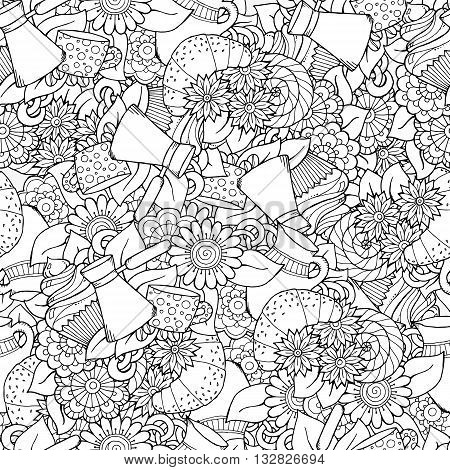Seamless tea and coffee doodle pattern with paisley and flowers. Ethnic zentangle pattern template can be used for menu wallpaper pattern fills coloring books for kids and adults. Hand Drawn.