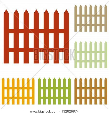 Fence simple sign. Colorful autumn set of icons.