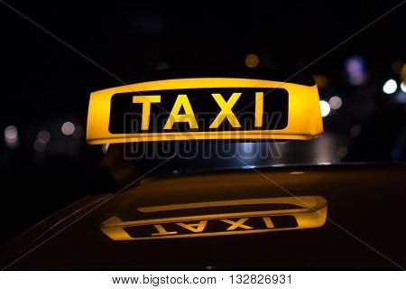 Taxi Sign At Night , Taxi Cars