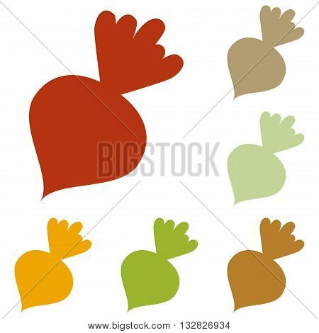 Beet simple sign. Colorful autumn set of icons.
