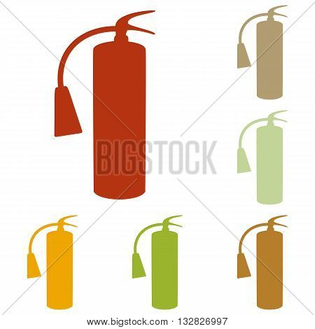 Fire extinguisher sign. Colorful autumn set of icons.