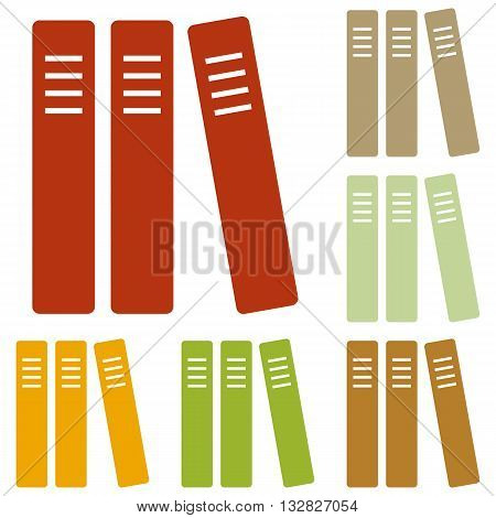 Row of binders, office folders icon. Colorful autumn set of icons.