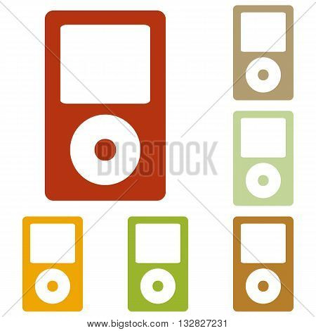 Portable music device. Colorful autumn set of icons.