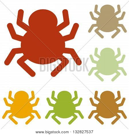 Spider sign illustration. Colorful autumn set of icons.