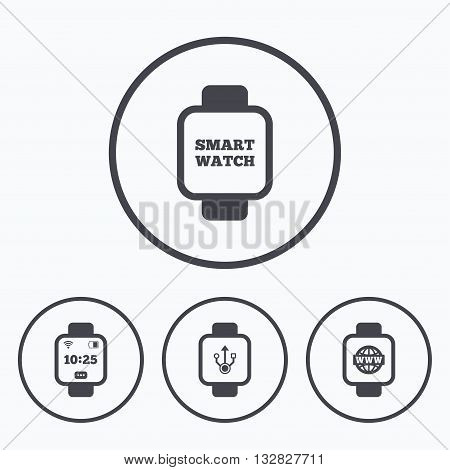 Smart watch icons. Wrist digital time watch symbols. USB data, Globe internet and wi-fi signs. Icons in circles.