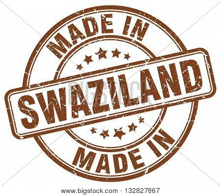 made in Swaziland brown round vintage stamp.Swaziland stamp.Swaziland seal.Swaziland tag.Swaziland.Swaziland sign.Swaziland.Swaziland label.stamp.made.in.made in.
