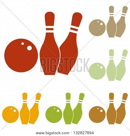 Bowling sign illustration. Colorful autumn set of icons.