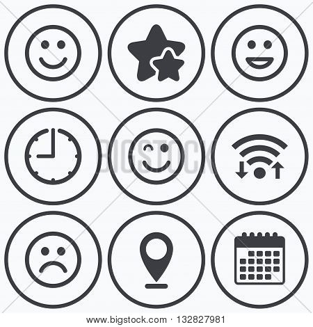 Clock, wifi and stars icons. Smile icons. Happy, sad and wink faces symbol. Laughing lol smiley signs. Calendar symbol.