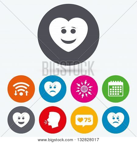 Wifi, like counter and calendar icons. Heart smile face icons. Happy, sad, cry signs. Happy smiley chat symbol. Sadness depression and crying signs. Human talk, go to web.