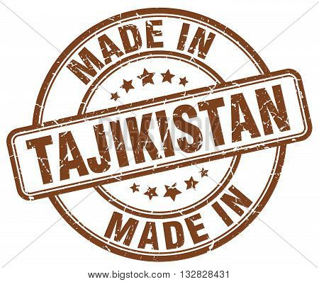 made in Tajikistan brown round vintage stamp.Tajikistan stamp.Tajikistan seal.Tajikistan tag.Tajikistan.Tajikistan sign.Tajikistan.Tajikistan label.stamp.made.in.made in.